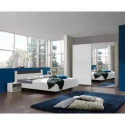 Set Ilona - postel 180 cm, noční stolky, skříň (alpská bílá, antracit)