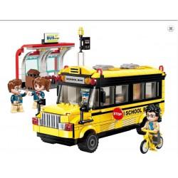Qman Colorful City 1136 Školní autobus se zastávkou